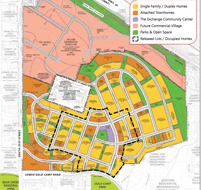 Gold Hill Mesa Community in Colorado Springs map