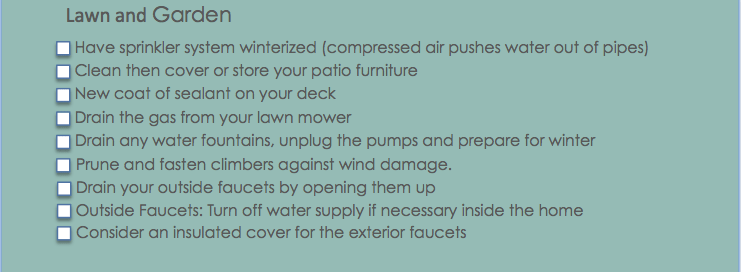 Winter checklist for outside your home