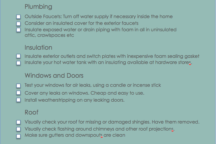 Winter Check list Plumbing heating, windows and doors