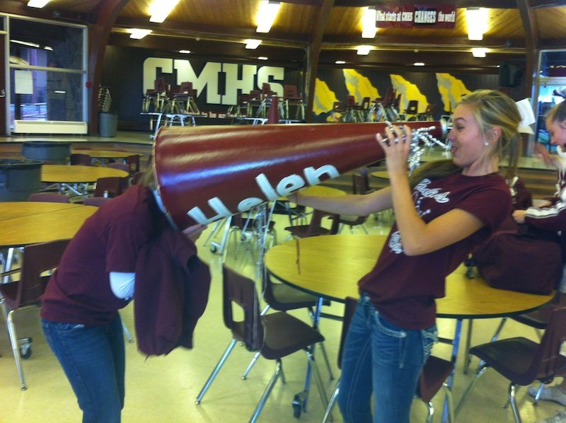 Cheerleaders goofing around at Cheyenne mountain high school