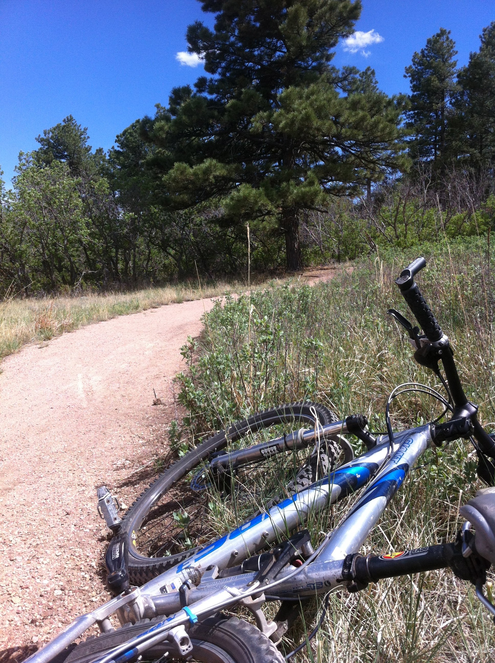 Bike laying next to trail in Cheyenne Mountain State Park
