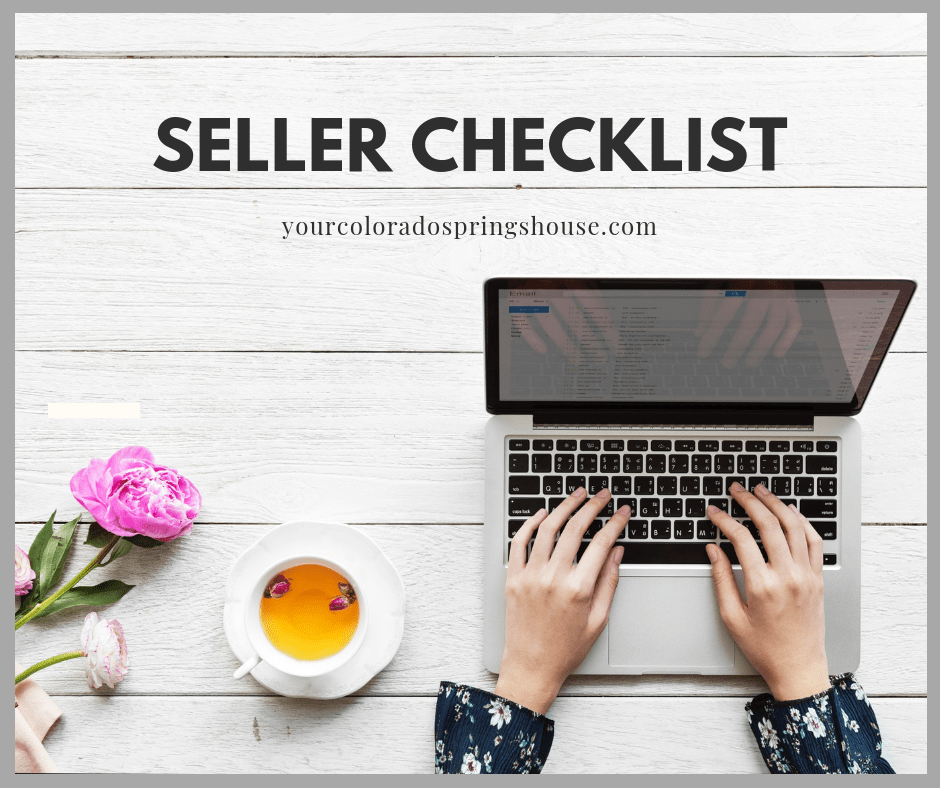 Picture of woman's hands typing on laptop with 'seller checklist' caption