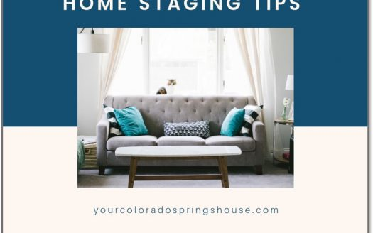 Picture of light gray couch with turquoise accented pillows captioned with Home Staging Tips