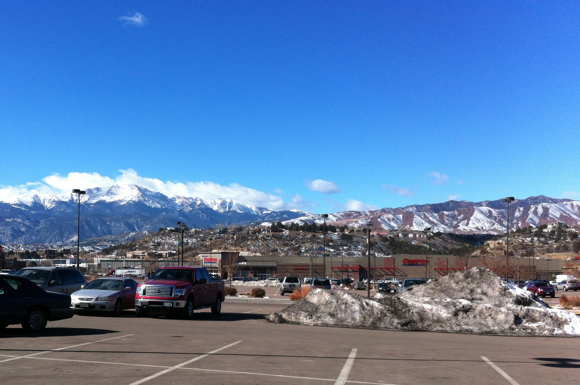 View of Pikes Peak from the University Village shopping center parking lot