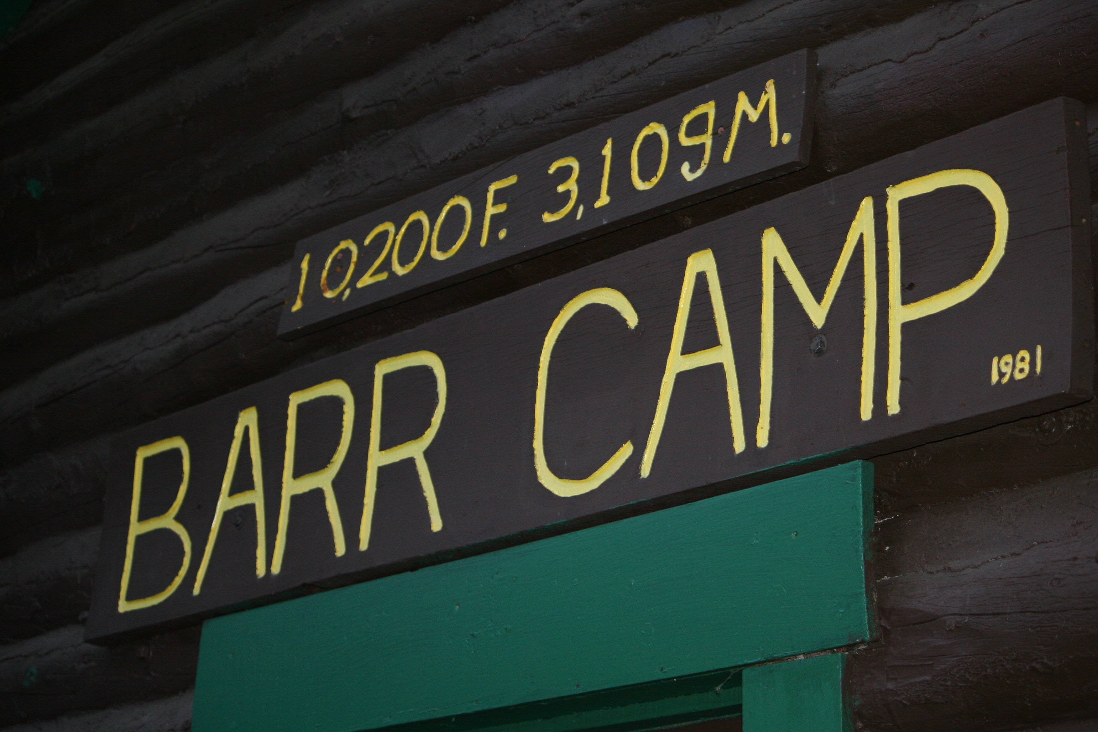 Barr camp Barr Trail Sign on Pikes Peak