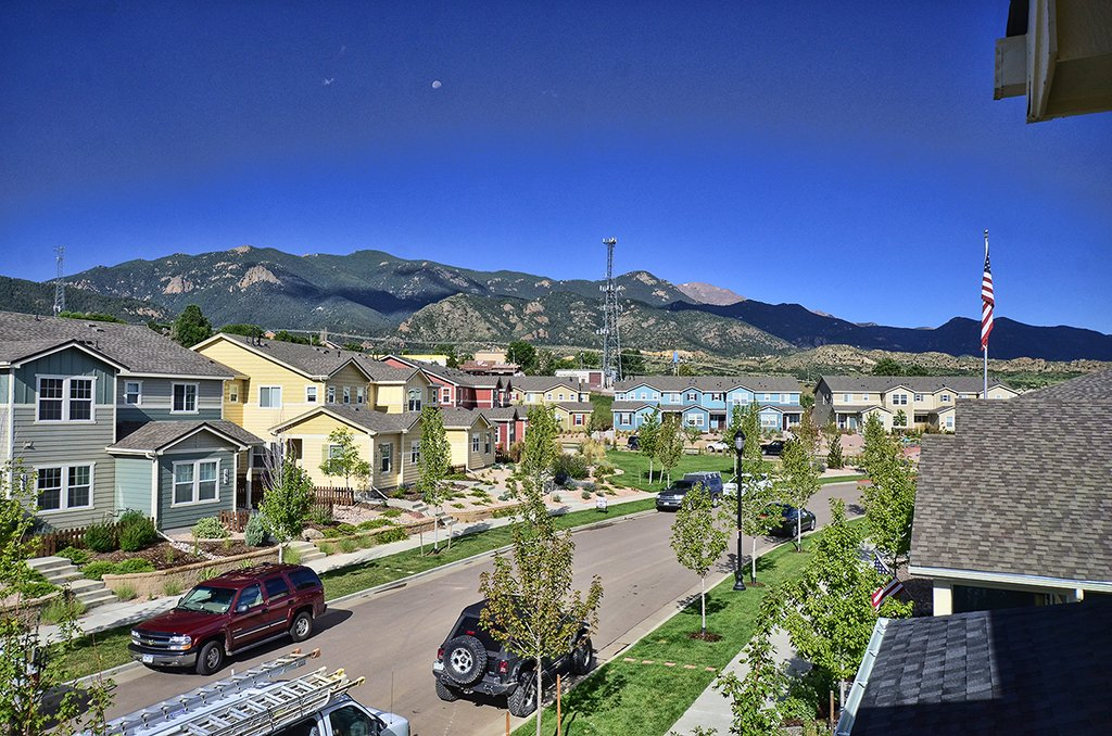 view from upstairs of 1602 Gold Hill Mesa Dr in Colorado Springs CO