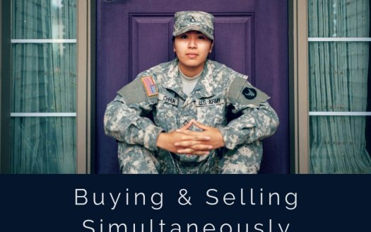 Picture of female soldier in front of door with caption buying & selling simultaneously