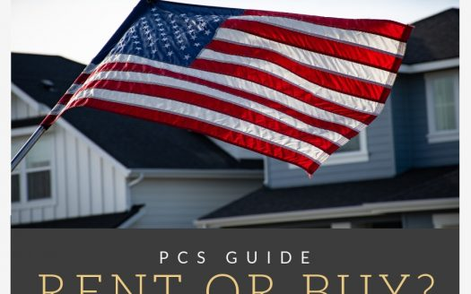 American flag flying with houses in the background captioned with PCS Guide Rent or Buy?
