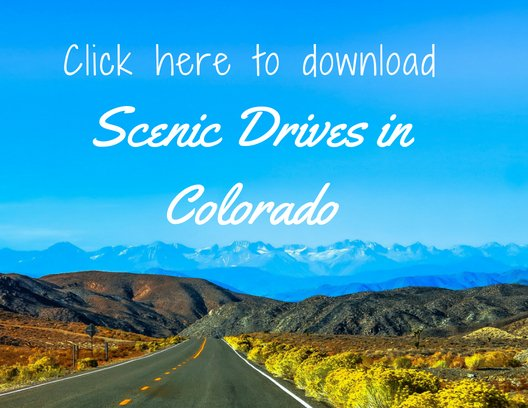 Scenic Drive in Colorado with mountain range in the distance