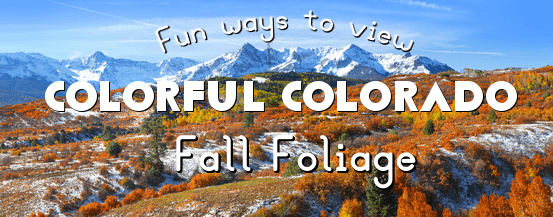 Picture of snow covered fields with trees in an array of fall colors with snow covered mountains in the background captioned with fun ways to view Colorful Colorado Fall Foliage