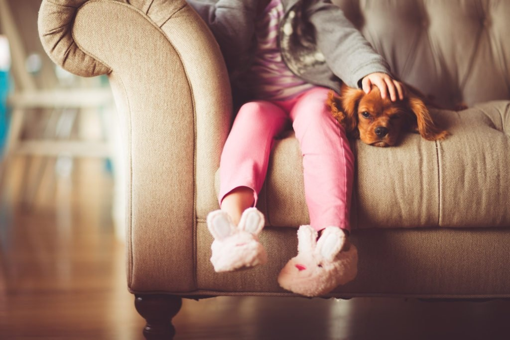 little girl on couch