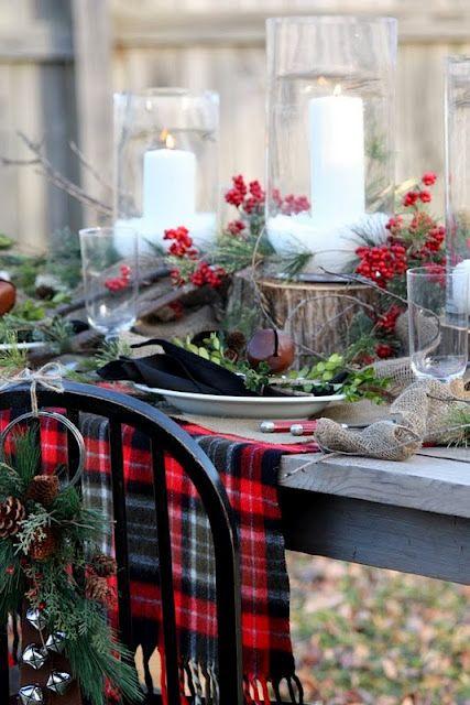 stylized woodland plaid table setting