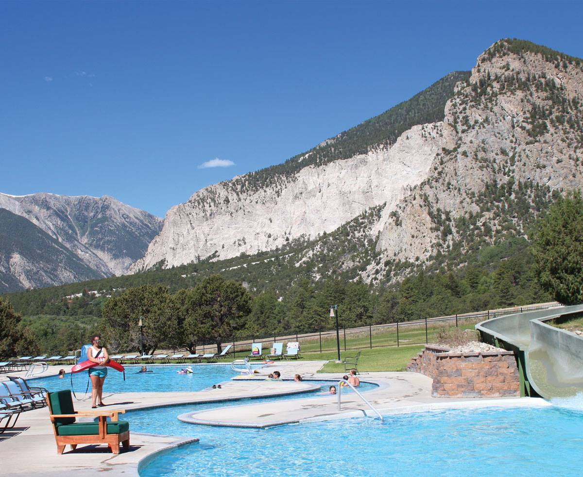 Upper pools and waterslide at Mt Princeton Colorado hot springs