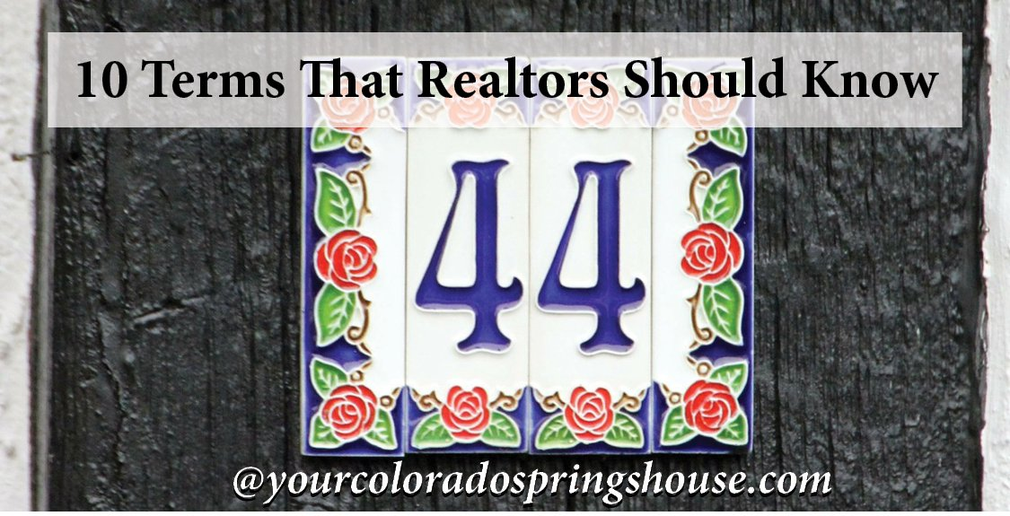 #44 decorative address number plate captioned with 10 Terms that realtors should know
