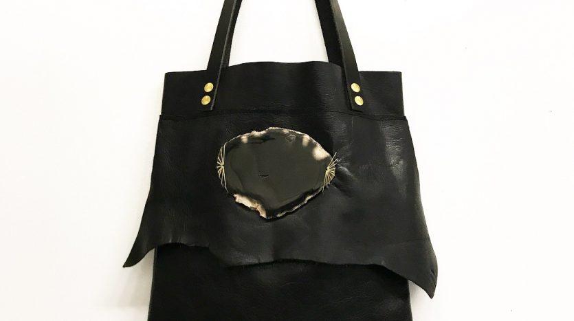 Jay Davis Leather Bag with black polished stone ornament