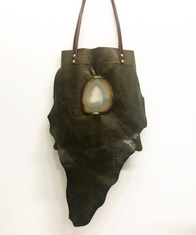 Jay Davis Leather Bag with polished stone ornament