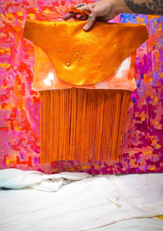 Jay Davis Orange Fringed Leather Bag