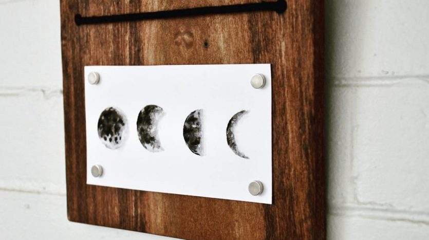 Leather and Pine household decor moon hanging