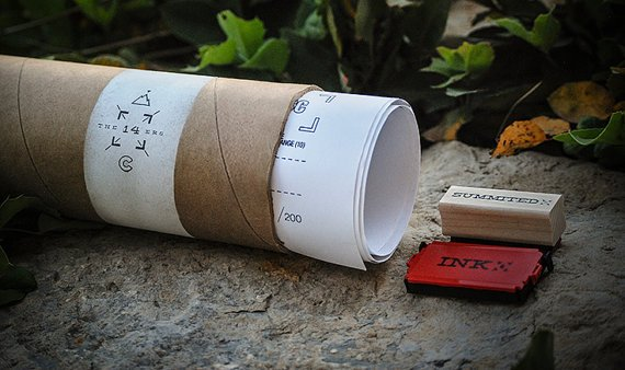 14ers rubber stamp with rolled up & stamped maps