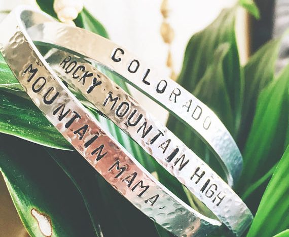 Colorado themed hammered metal bracelets