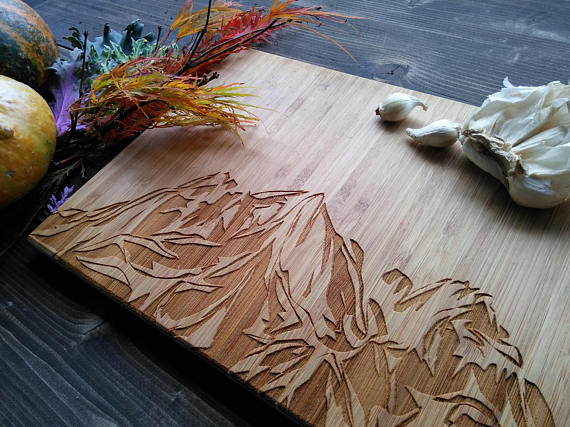 Mountain engraved cutting boards