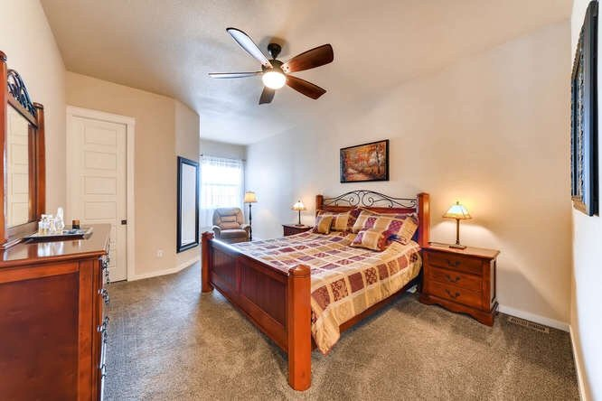 One of the bedrooms in 1290 Gold Hill Mesa Drive