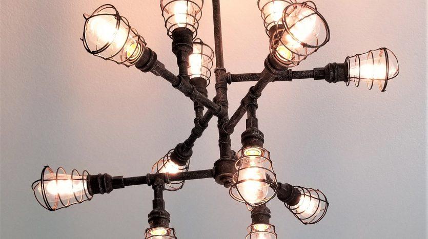 Rustic black metal light fixture