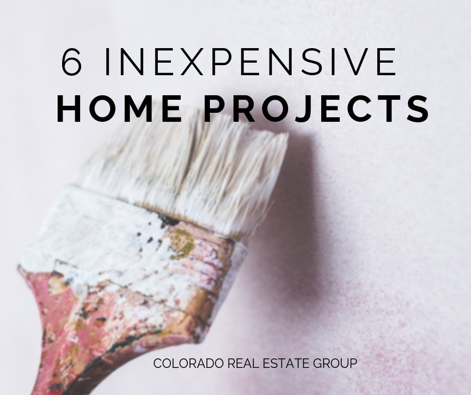 "Paint Brush with ""6 Inexpensive Home Projects"" text"