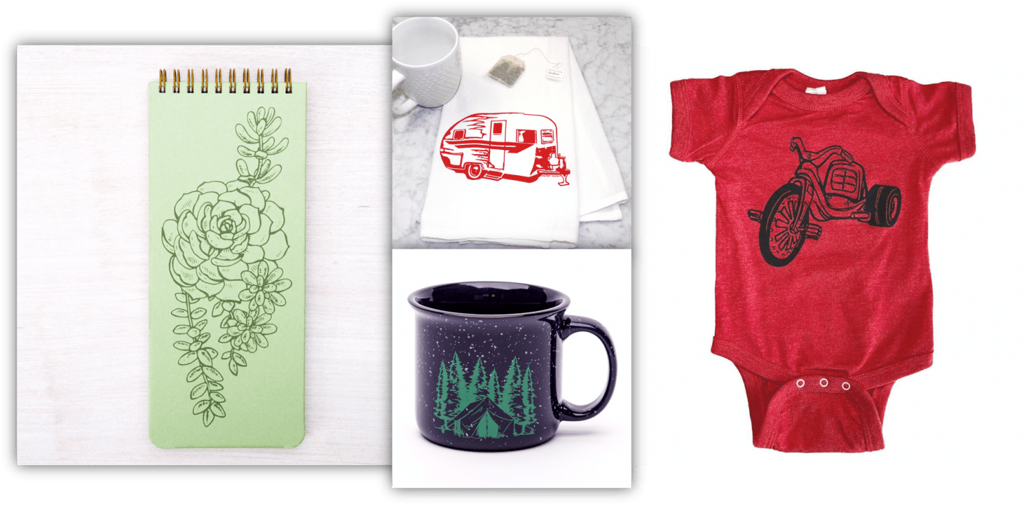 Picture of Counter Culture mug, notepad, dish towel and infant bodysuit