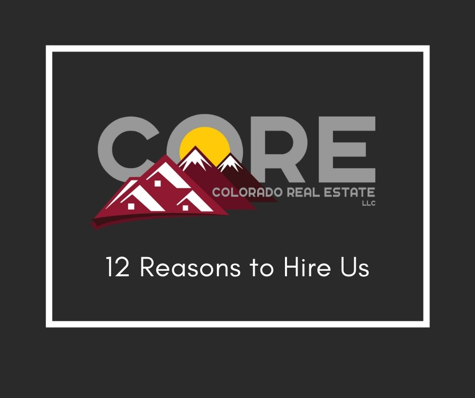 Colorado Real Esate Group logo with caption: 12 reasons to hire us