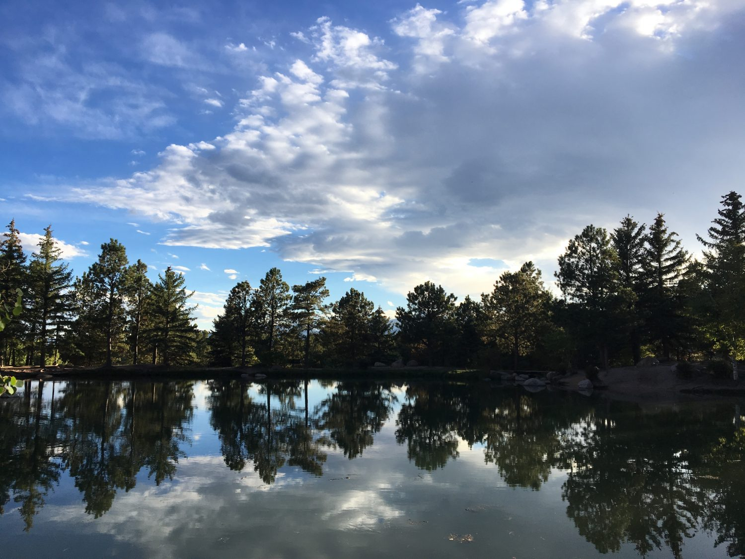 Picture of trees reflecting in the pond at Fox Run Park in Colorado Springs