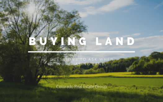 Green field with trees and blue sky overlayed with caption Buying Land, questions to ask when purchasing land