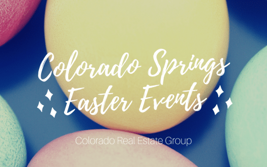 Picture of dyed Easter eggs with caption Colorado Springs Easter Events