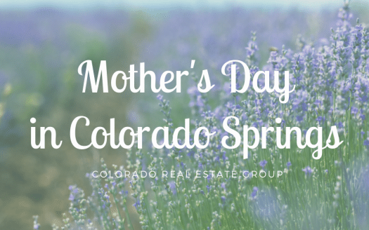 Picture of lavendar field with caption Mother's Day in Colorado Springs