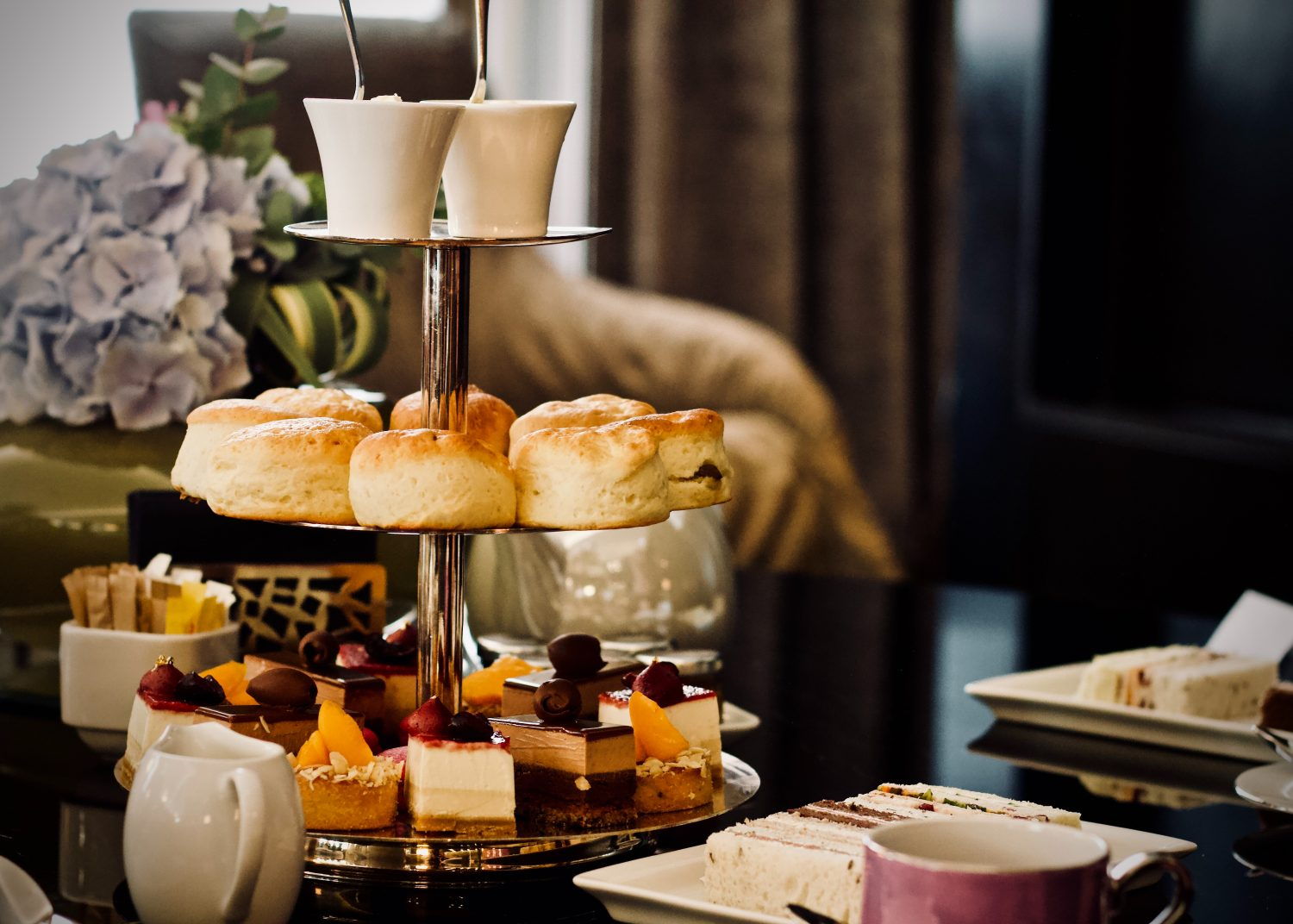 picture of tower of high tea foods