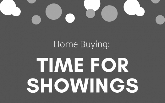 Dark gray background with light gray and white dots with the caption Home Buying: Time for Showings