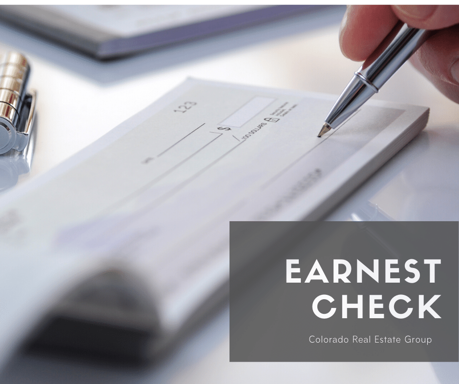 "picture of person writing a check with ""earnest check"" caption"