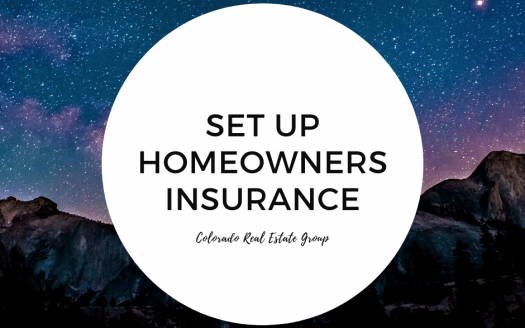 Picture of mountains with stars at night, captioned with Set up homeowners insurance