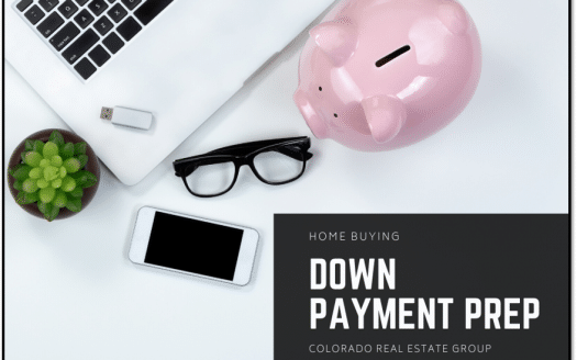 Picture of a laptop, a USB drive, a pair of glasses, a cell phone, a piggy bank and a succulent in a pot captioned with Home Buying Down Payment Prep