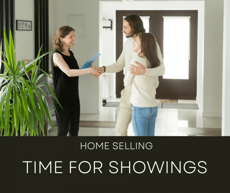"""picture of woman shaking hands with couple and """"Home Selling Time for Showings"""" caption"""