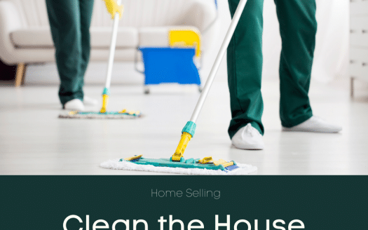 "picture of people mopping a floor with ""home selling: clean the house"" caption"