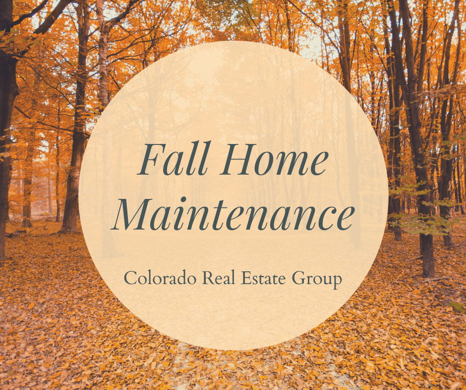 picture of fall trees with fall home maintenance caption