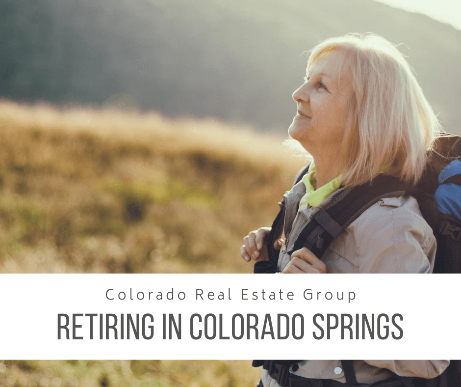 "image of woman backpacking in mountains with ""retiring in Colorado Springs"" caption"