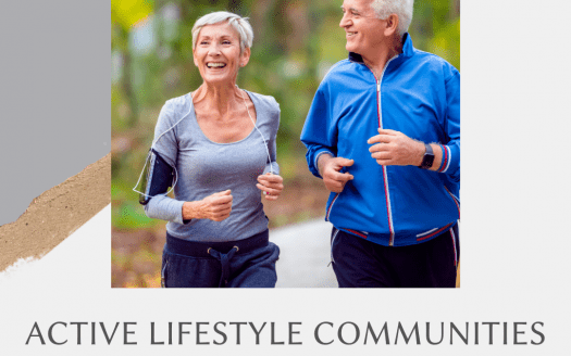 Picture of older couple jogging with Active Lifestyle Communities caption