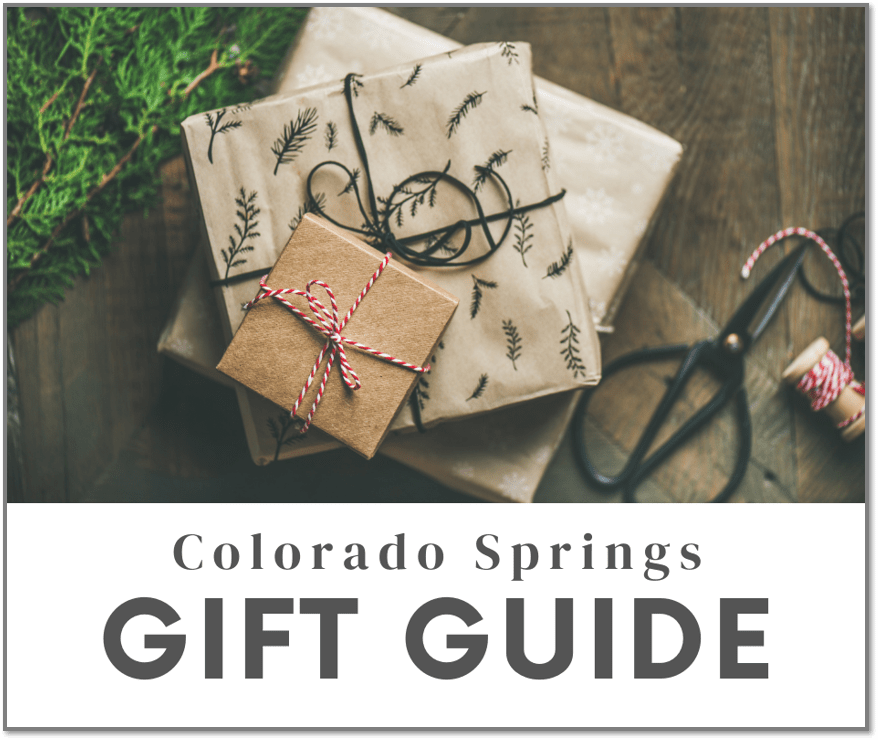 "picture of gifts with ""Colorado Springs Gift Guide"" caption"