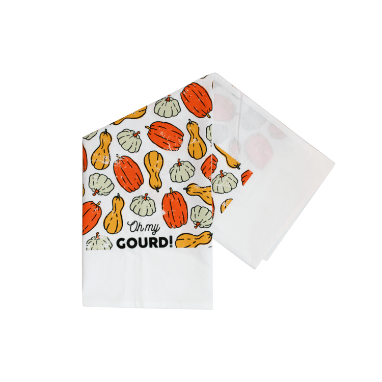 "picture of dish towel with ""Oh my Gourd"" caption from Berry Berry Goods"