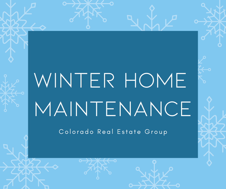 """graphic of snowflakes with """"Winter Home Maintenance"""" caption"""
