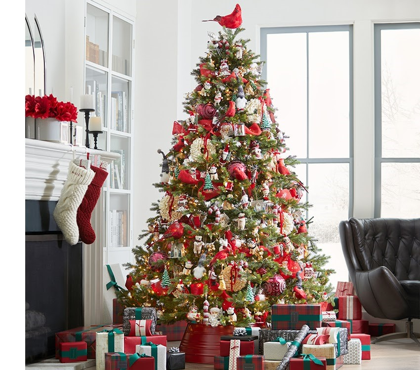 picture of Christmas tree decorated with red accents