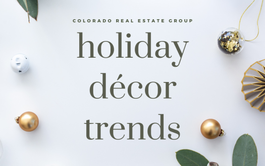 "graphic of Christmas decorations with ""Holiday Décor Trends"" caption"