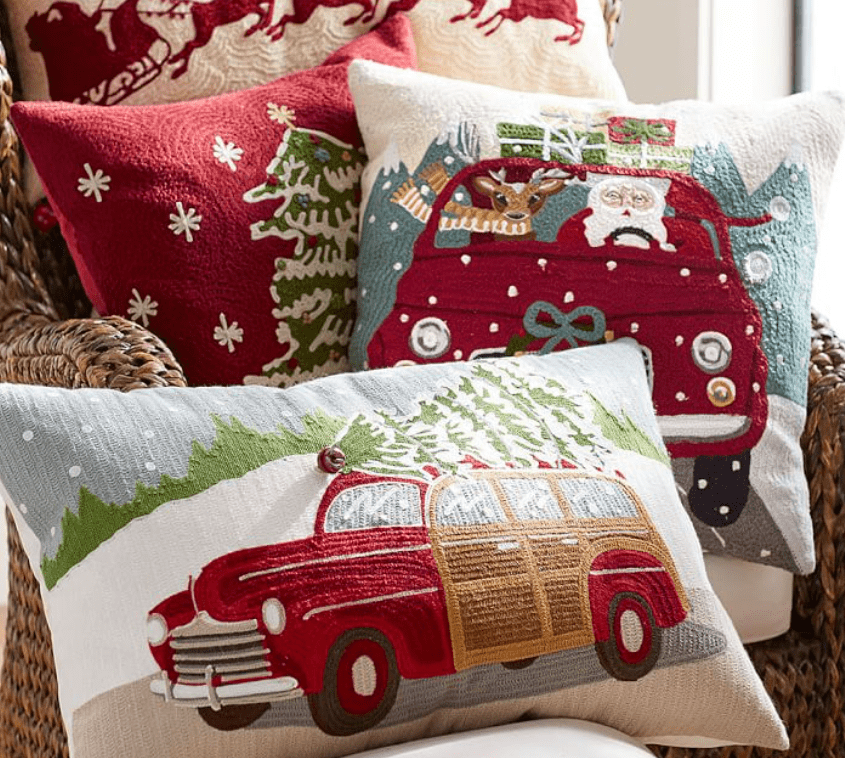 picture of throw pillows with Christmas theme